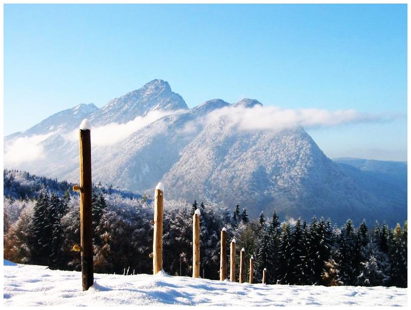 Blick auf den winterlichen Staufen.