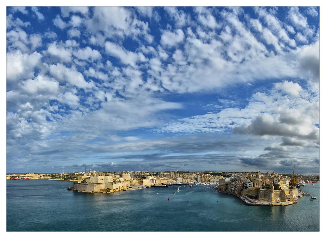 Blick auf die 3 gegenüberliegenden Städte von La Valletta (Malta)