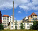 Blick auf die alten Gebäude von Kaffeee HAG