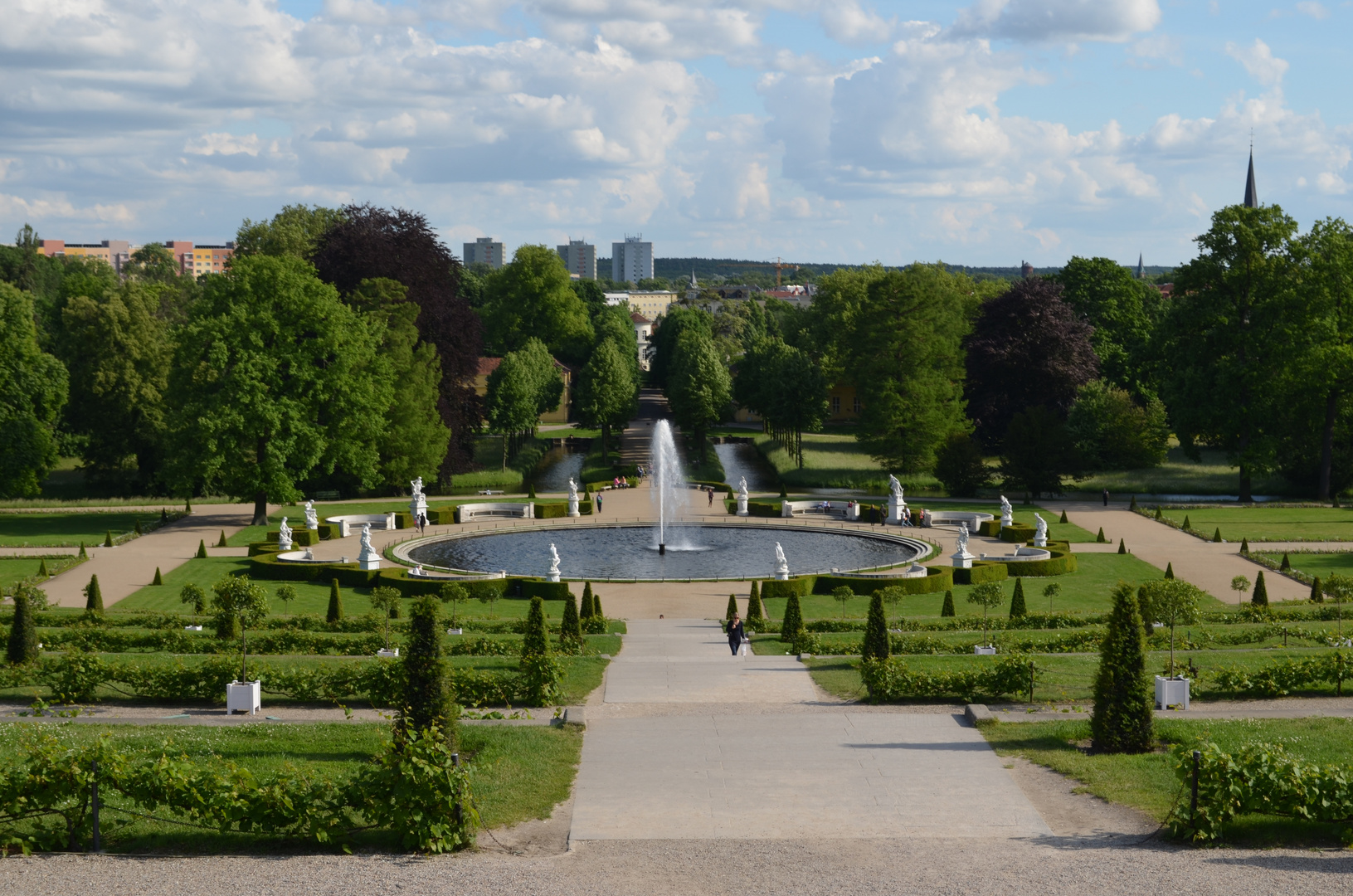 Blick auf die große Fontäne im Schlosspark Sannsouci