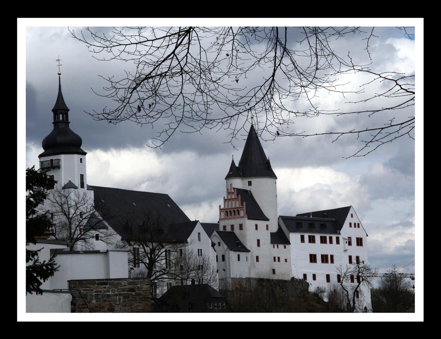 Blick auf die Schwarzenberg St. Georgen Kirche und das Schloss