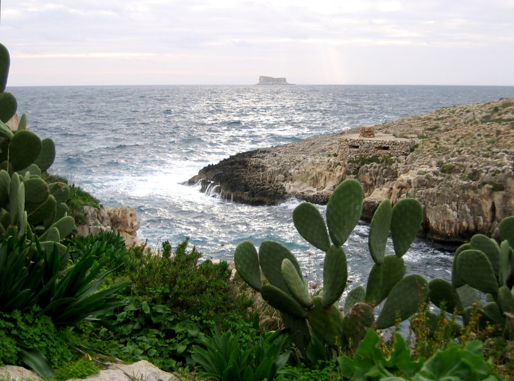 Blick auf Felseninsel
