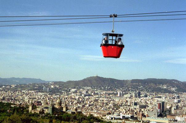 Blick auf Gondel und Barcelona