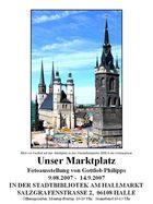 Blick auf Halles 5 Türme mit Ausgrabungen der alten Marienkirche
