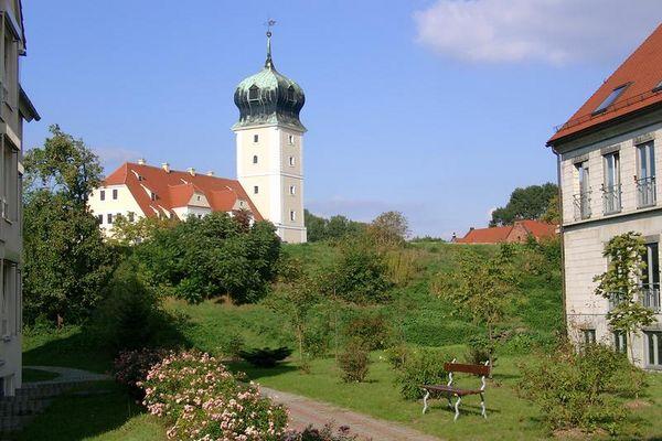 Blick auf Schloß Delitzsch vom St Georg Hospital