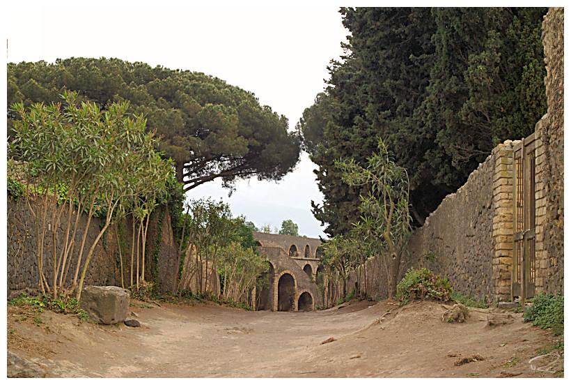 Blick aufs Amphitheater in Pompeji