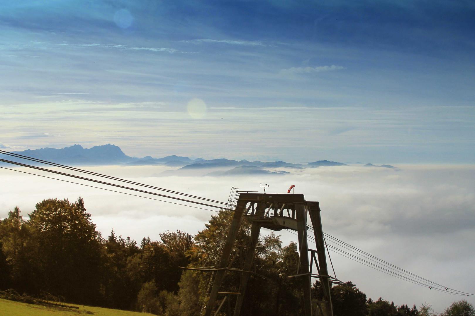 Blick aufs Nebelmeer über'm Bodensee und auf den Säntis