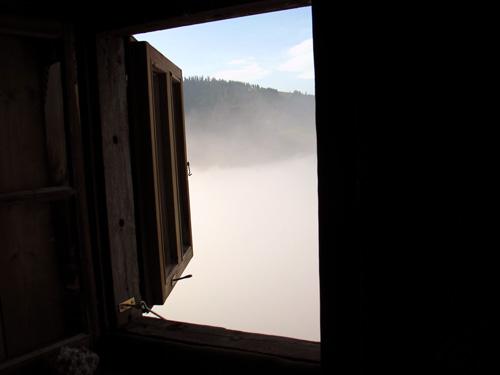 blick aus dem meditationsraum auf der almhuette