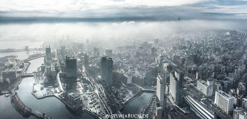 Blick aus dem Yokohama Royal Park Hotel im Landmarktower
