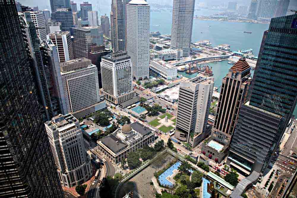 Blick aus der Bank of China