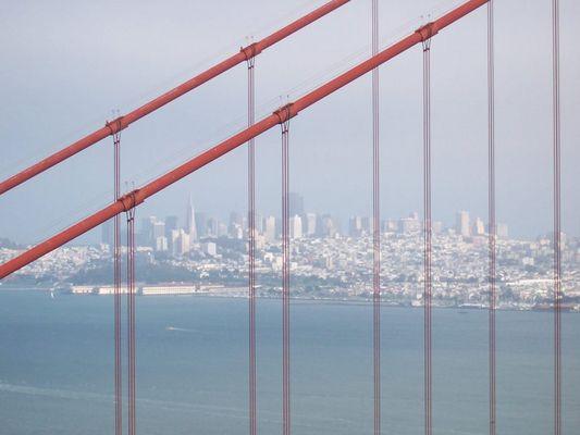 Blick durch die Golden Gate Bridge auf San Francisco