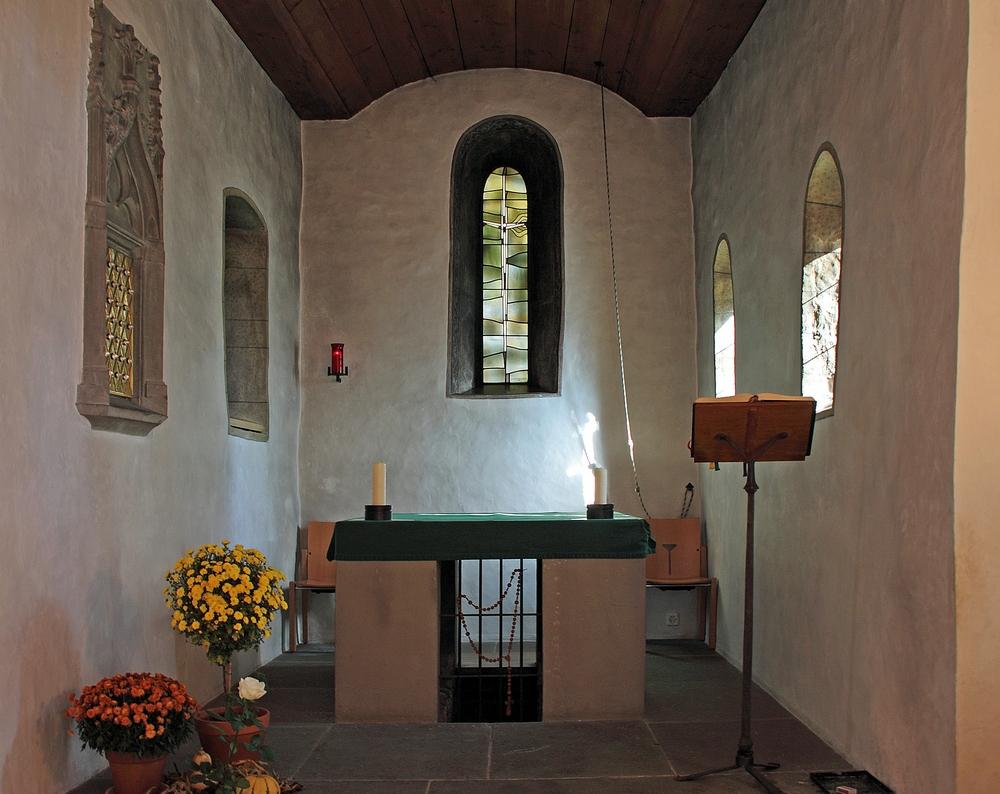 Blick in die Kapelle auf der Insel Werd