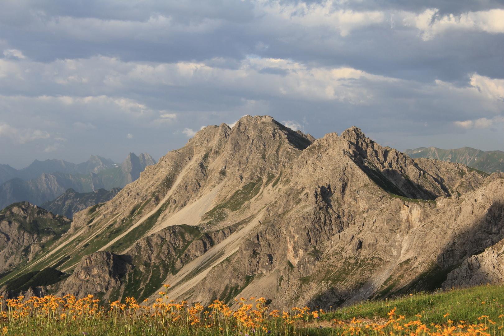 Blick in die umliegende alpine Bergwelt an der Fiderepasshütte