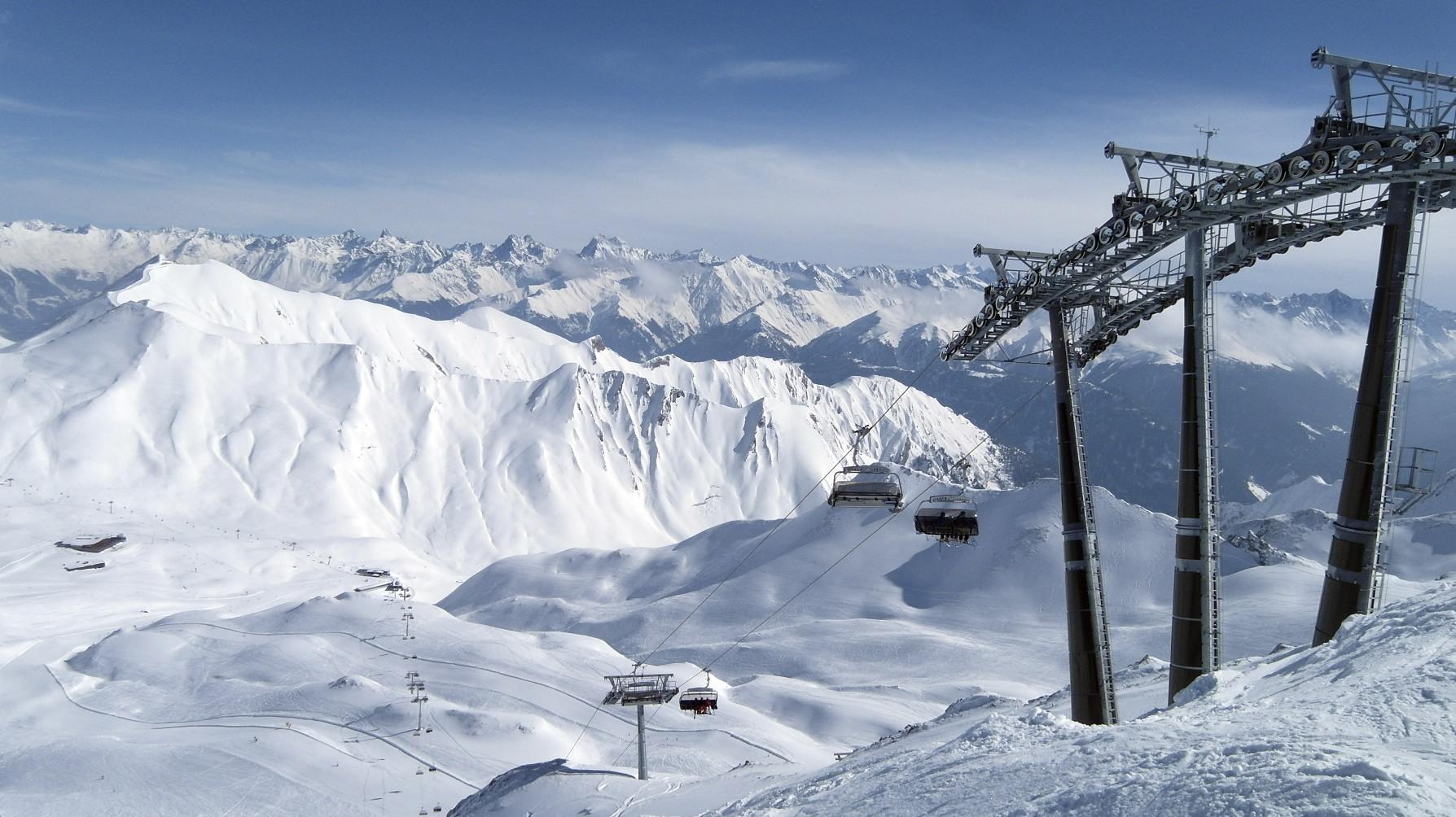 Blick über das Skigebiet von Serfaus Fiss Ladis