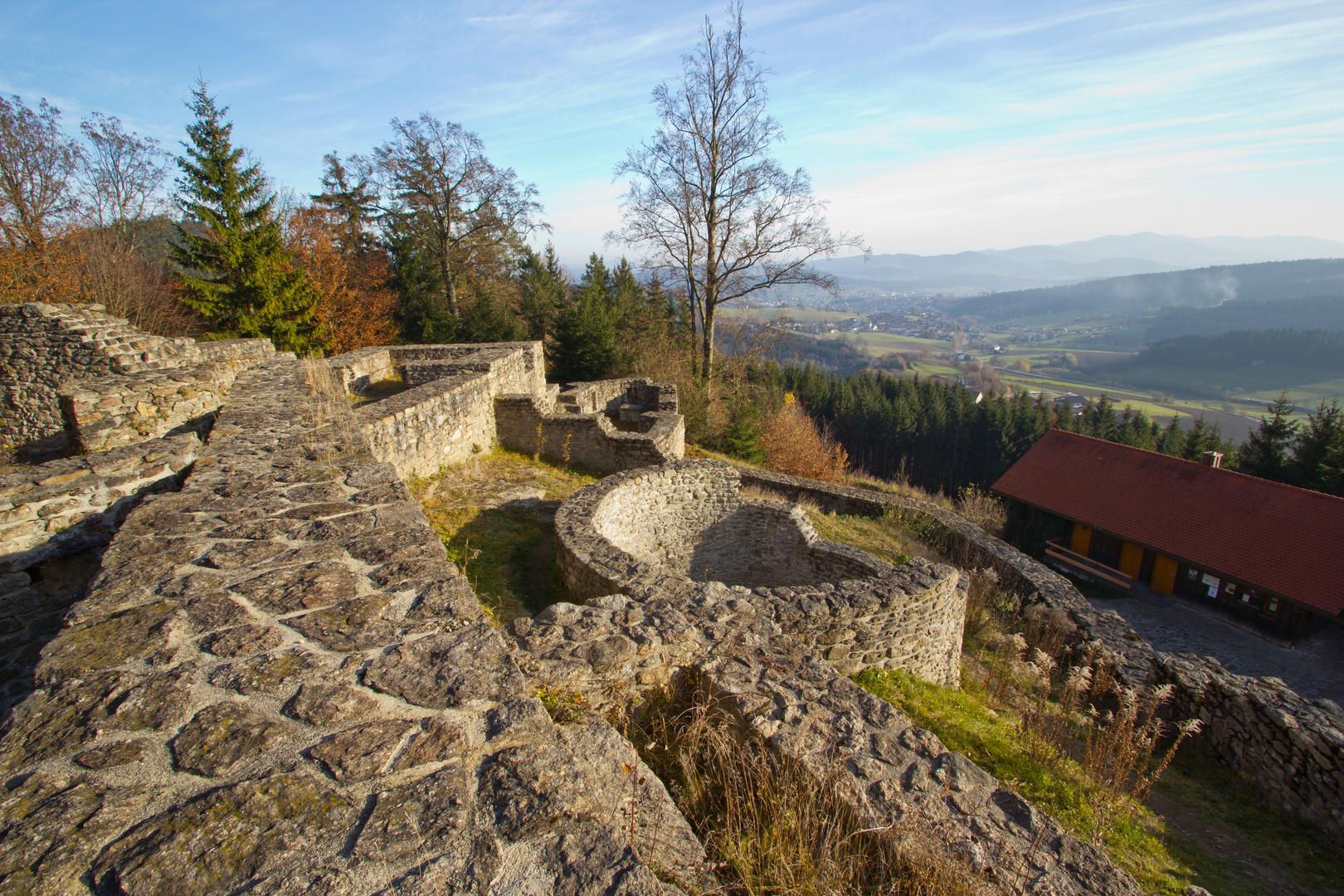 Blick über die Burgruine Altnußberg ins Tal
