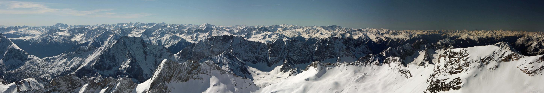 Blick vom Gipfel der Zugspitze