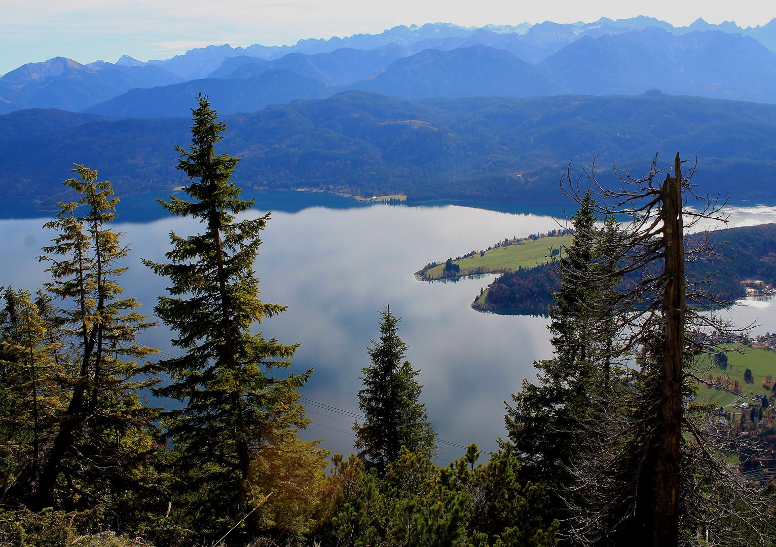 Blick vom Herzogstand, Walchensee