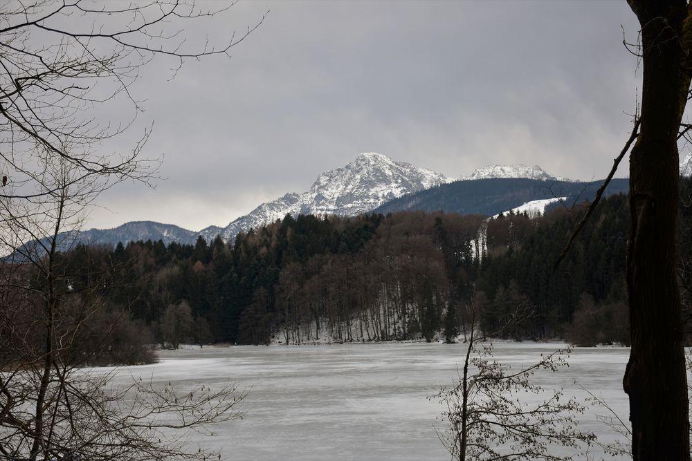 Blick vom Höglwörther See auf den Hochstaufen