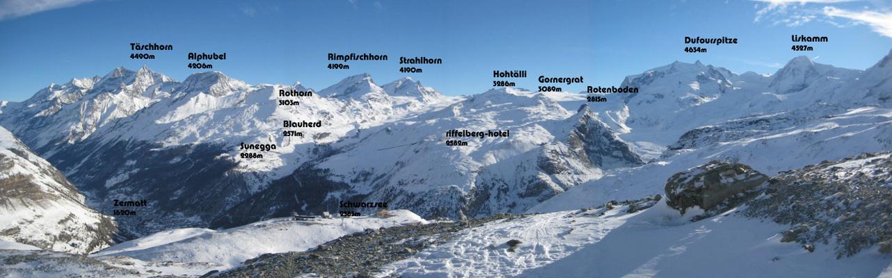 Blick vom Hörnli auf Zermatt und Umgebung