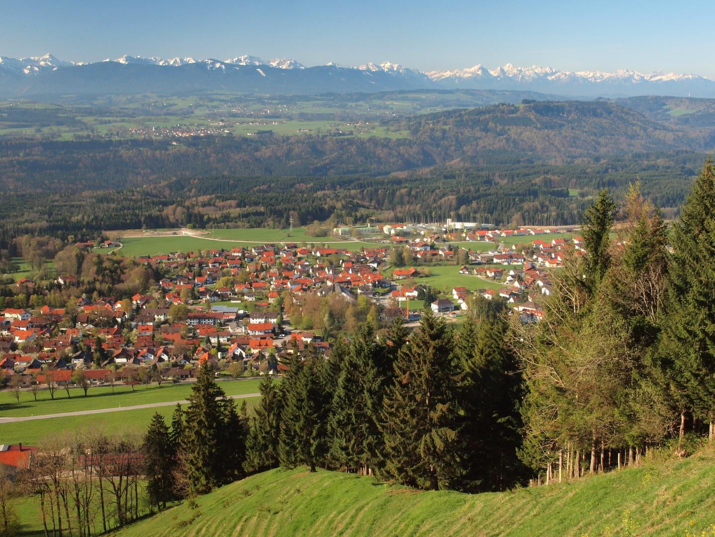 Blick vom Hohen Peißenberg auf die Allgäuer Alpen