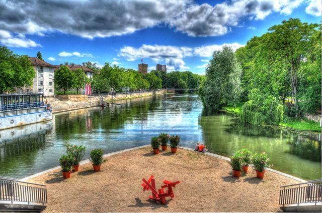 Blick vom Inselhotel auf den Neckar in Heilbronn