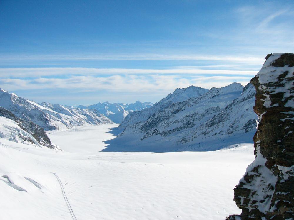 Blick vom Jungfraujoch aus Richtung Konkordiaplatz