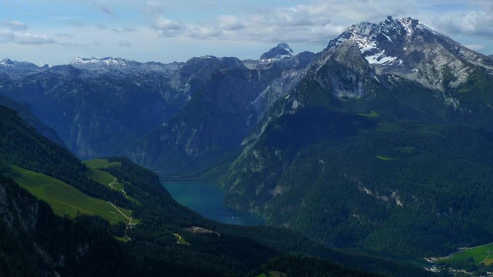 Blick vom Kehlsteinhaus zum Königssee bei Berchtesgaden