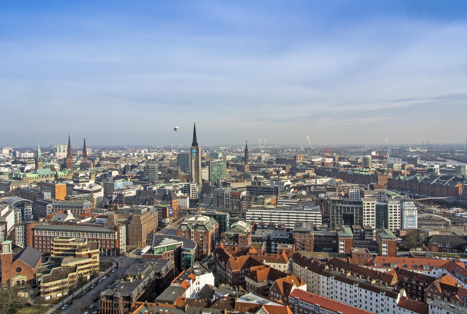 Blick vom Michel auf Hamburg