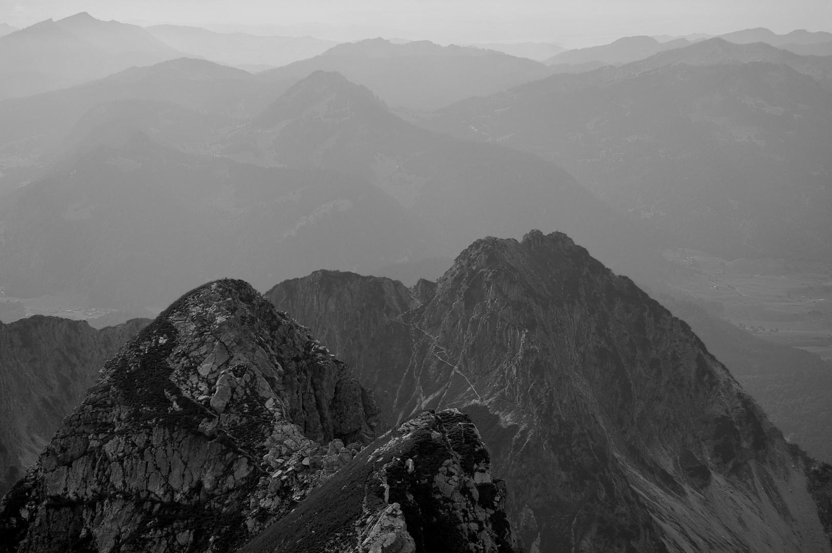 Blick vom Nebelhorn auf das Rubihorn