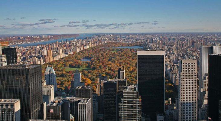 Blick vom Rockefeller Center nach Norden auf den Central Park