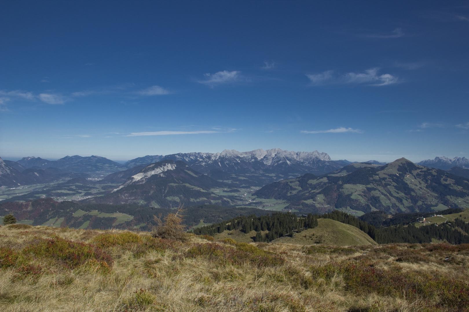 Blick vom Roßkopf auf den Wilden Kaiser (Tirol)