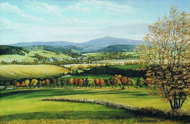 Blick vom Scheibenberg nach Crottendorf ( Öl / 2000 )