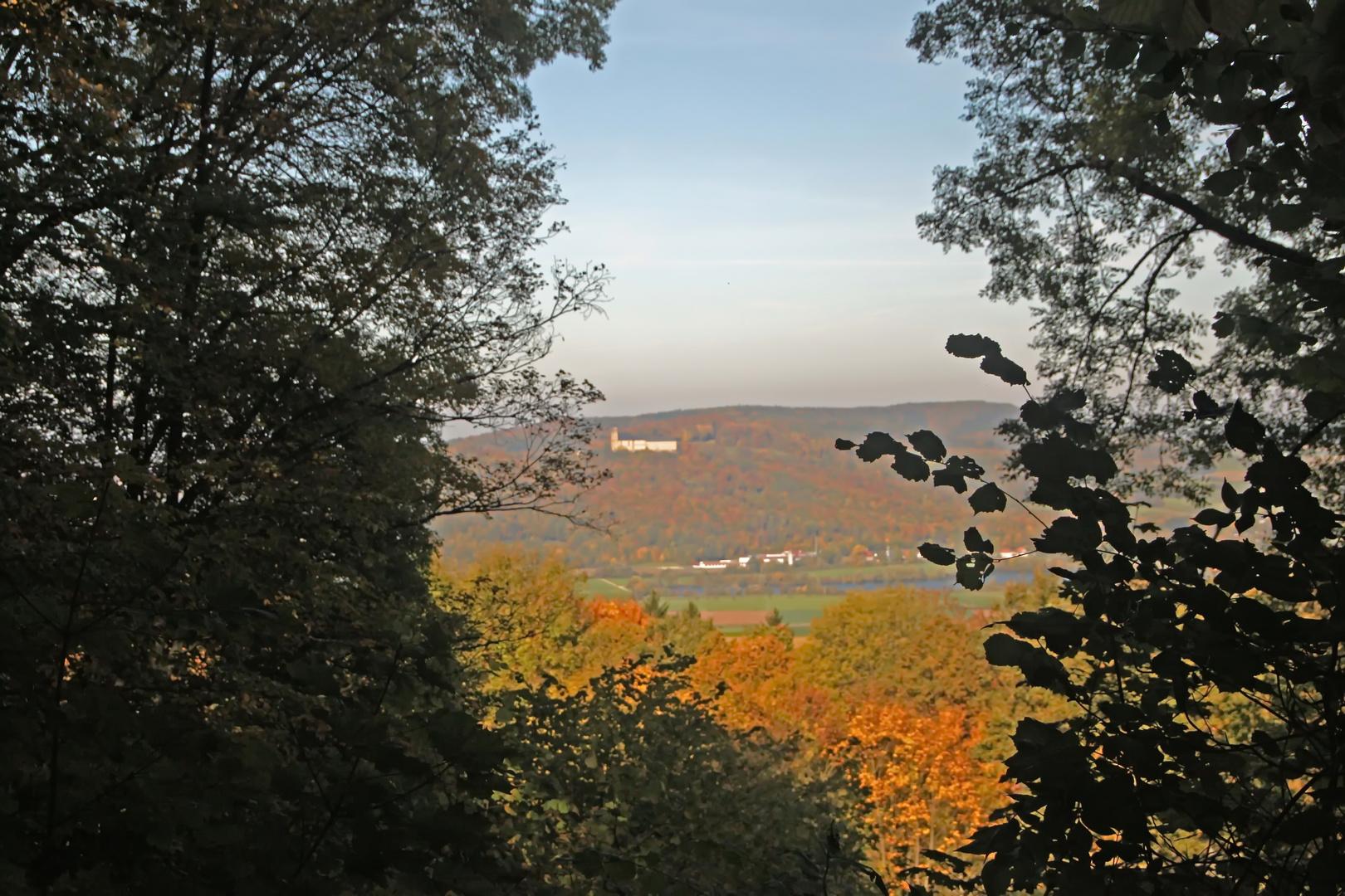 Blick vom Staffelberg auf Kloster Banz