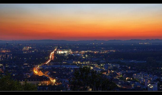 Blick vom Turmberg auf Karlsruhe