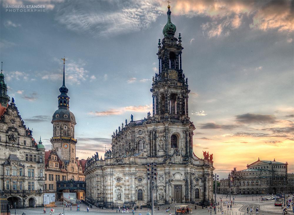 Blick von den Elbterassen in Dresden