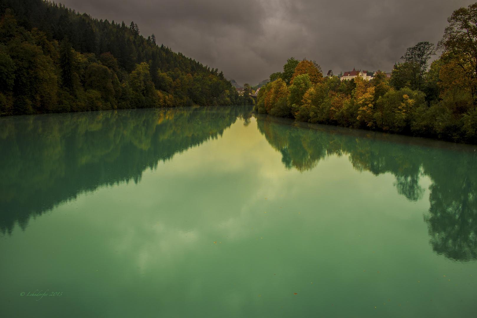 Blick von der Lechbrücke auf Füssen