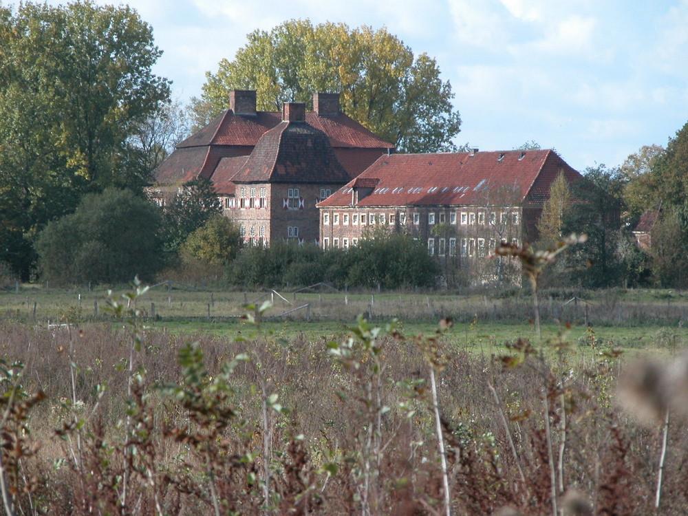 Blick zum Schloss Heessen aus den Lippewiesen
