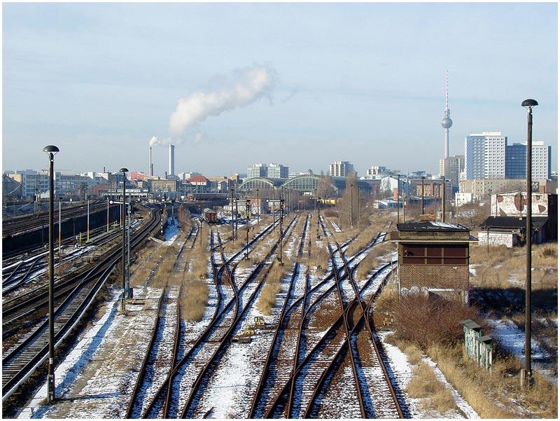 Blick zum Wriezener Güterbahnhof, ungenutzt,