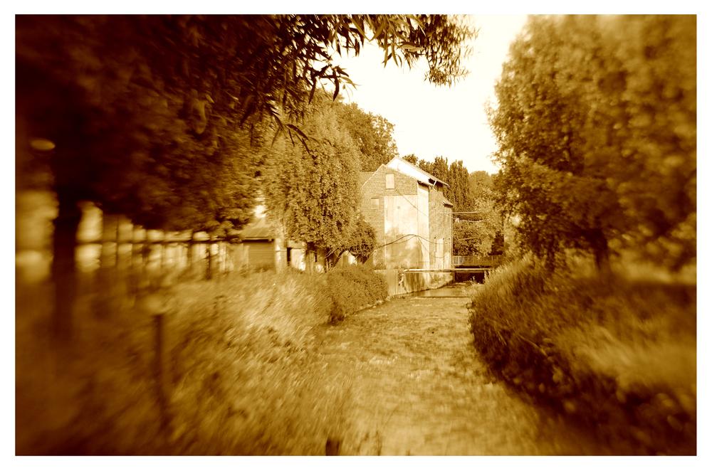 Blick zurück: Mühle an der Wurm