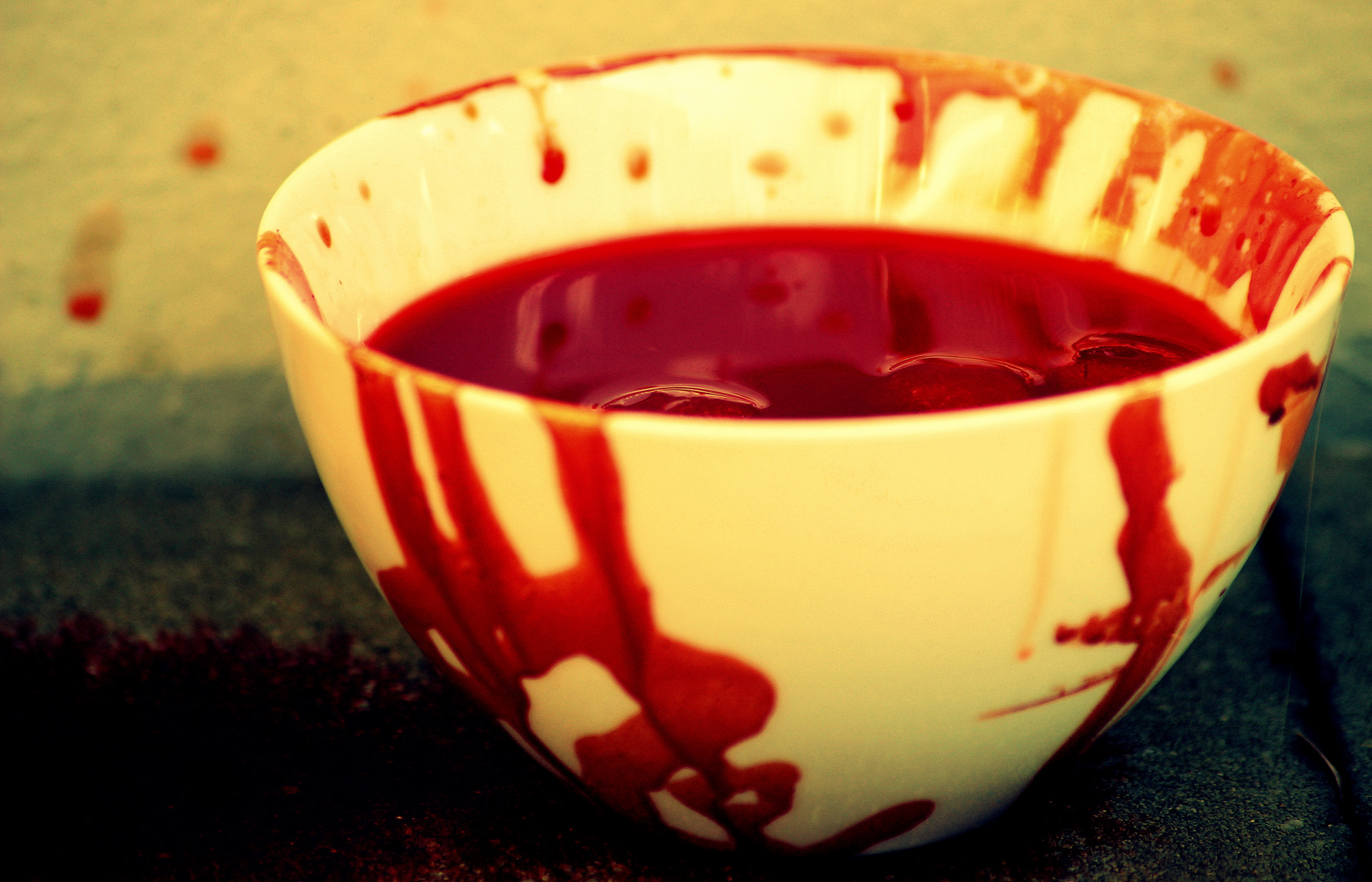 Blood with pieces in a bowl