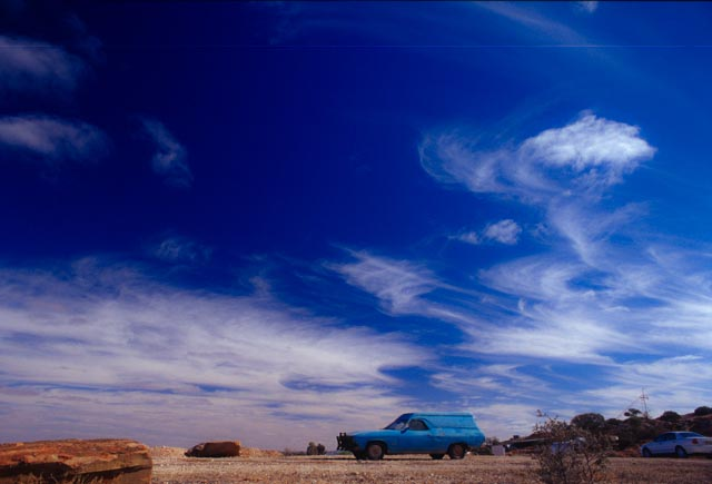 Blue Car in Outback