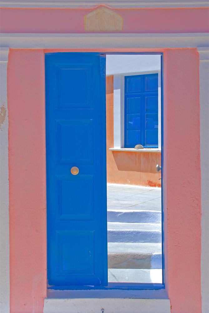 blue coloured door and window