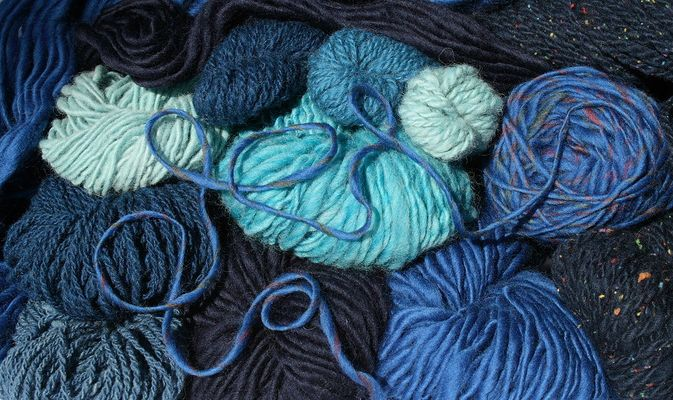 blue hand spun yarns