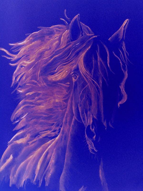 blue horse ( bearbeitet ) aquarellzeichnung