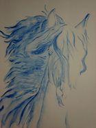 Blue horse (orginal) aquarellzeichnung