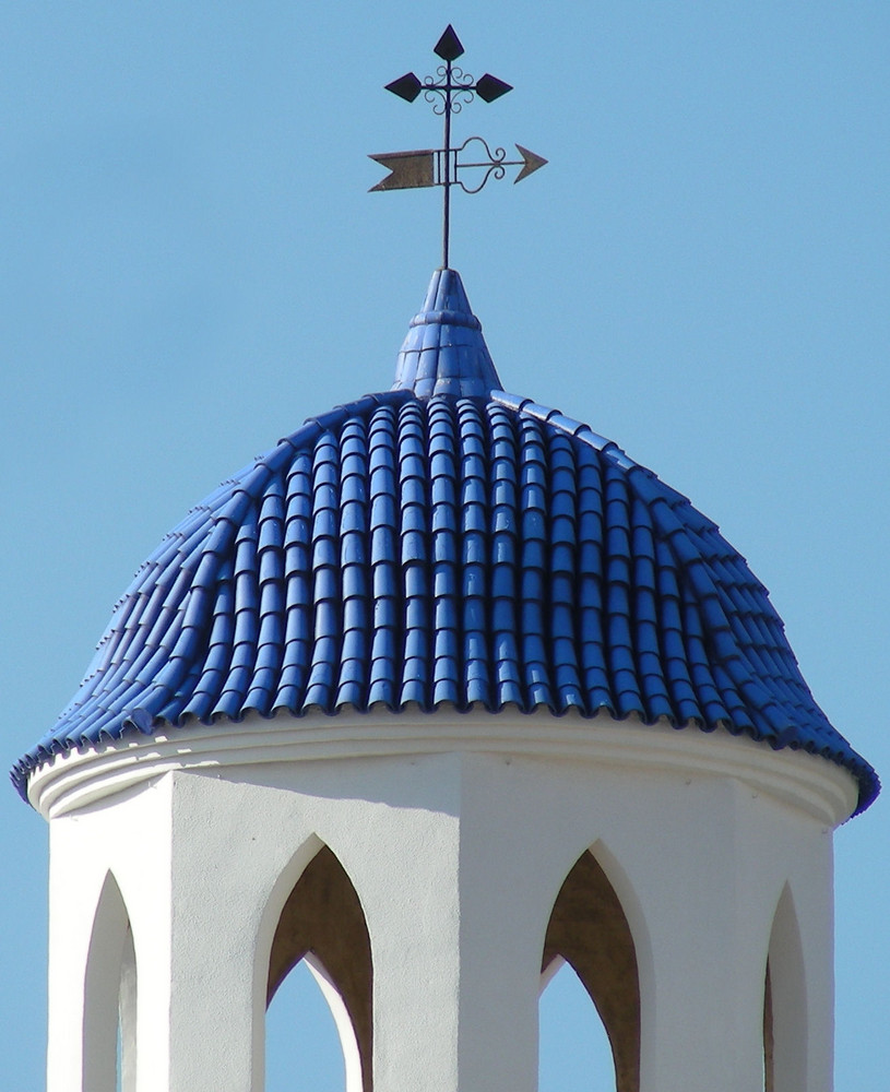 blue tiled church