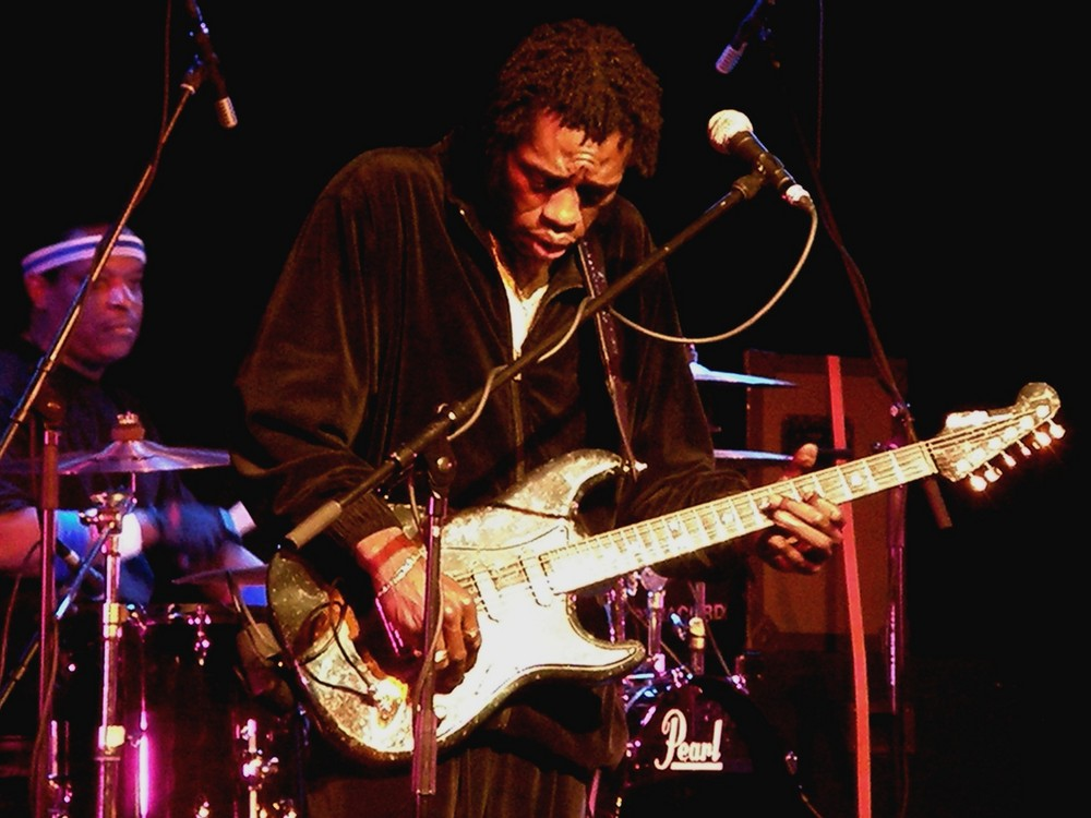 Blues musician Bernard Allison playing guitar in Soest Germany