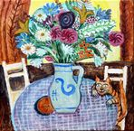Blumen auf rundem Tisch