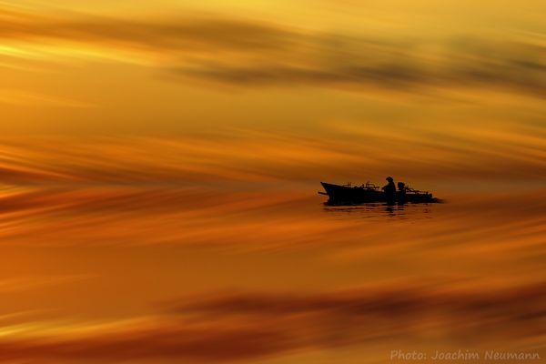 Boat on Orange Clouds
