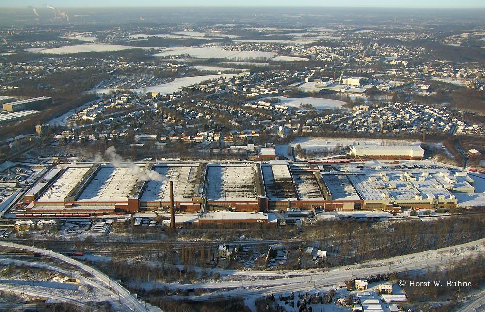 Bochum-Werne, Opelwerk im Schnee